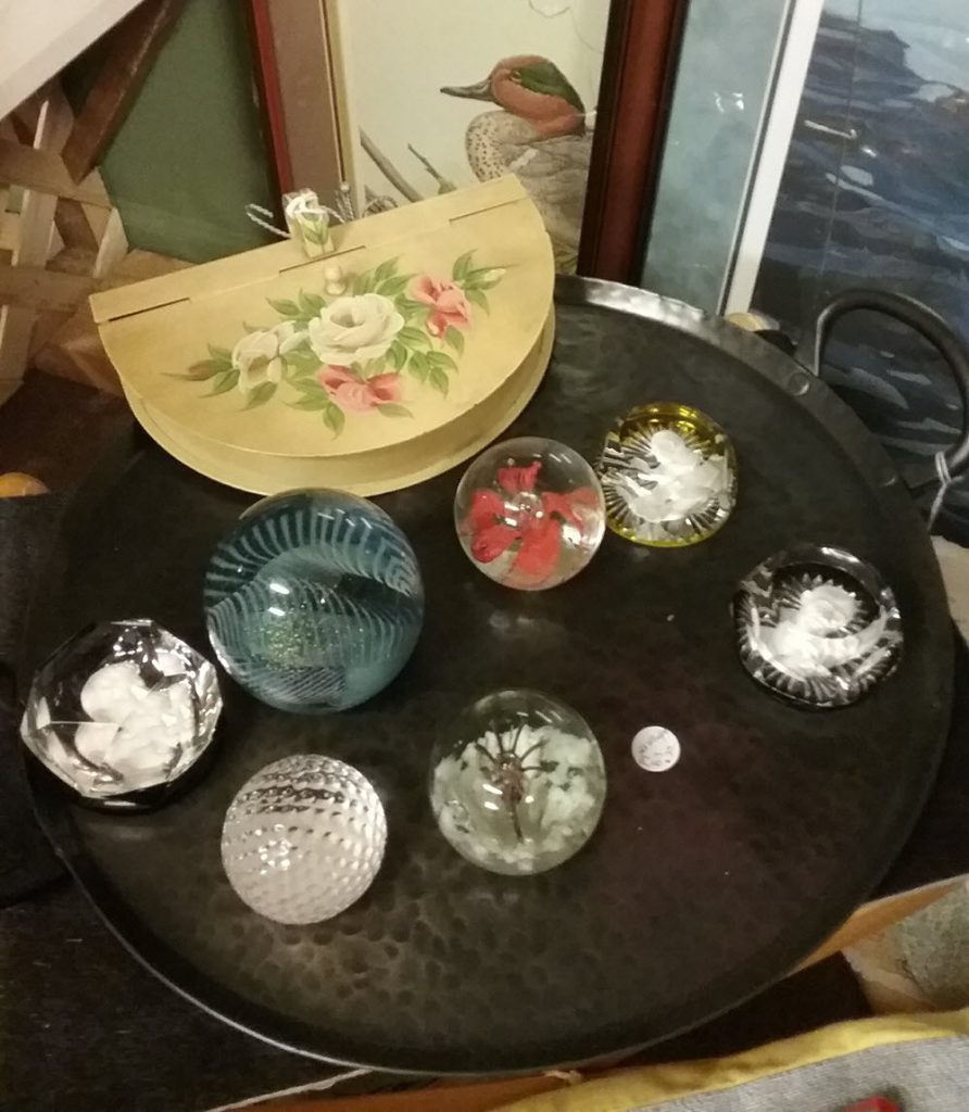 paperweights on a table